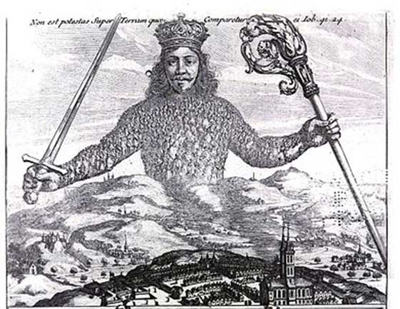 Leviathan by Thomas Hobbes; engraving by Abraham Bosse