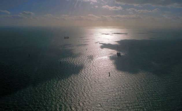 Wind turbines under construction in the North Sea east of Kent. Taken from light aircraft GBIRT