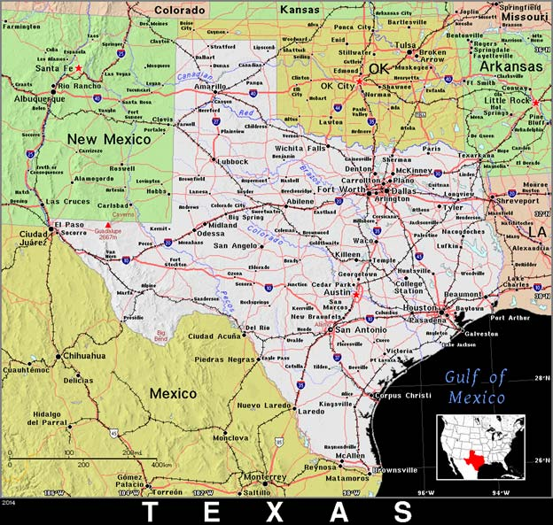 Public domain map of Texas.