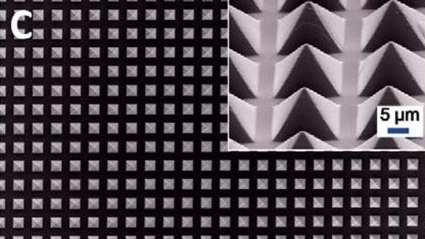 The pyramid patterns created in a polymer sheet increase current production in the new triboelectric generator