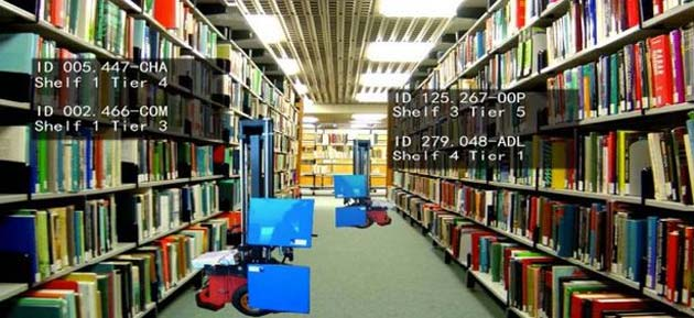 AuRoSS scans shelves at night looking for misplaced books then alerts the human librarian(Photo: A*STAR)
