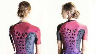 This breathable workout suit prototype has ventilating flaps that open and close in response to an athlete's body heat and sweat. The left photo was taken before exercise when ventilation flaps are flat; after exercise, the ventilation flaps have curved. Image: Hannah Cohen
