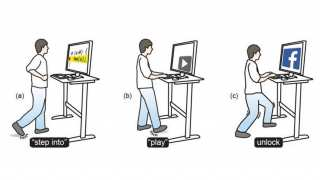 Professor Daniel Vogel presents Tap-Kick-Click: Foot Interaction for a Standing Desk at the Association for Computing Machinery's Designing Interactive Systems 2016 in Brisbane, Australia today. The idea behind the research project, conducted with Master's student William Saunders, is that computer users at standing desks can increase their physical activity through indirect, discrete two-foot input using combinations of kicks, foot taps, jumps, and standing postures which are tracked using a depth camera a