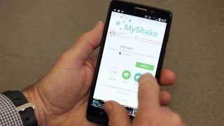 MyShakeApp being downloaded on a smart phone