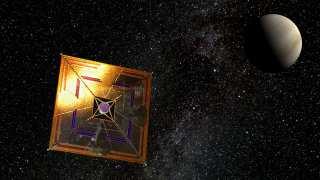 The Japanese IKAROS spaceprobe in flight (artist's depiction).