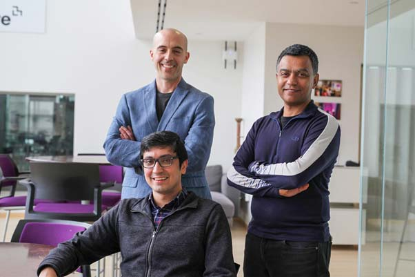 Pictured (left to right): Seated, Soroush Vosoughi, a postdoc at the Media Lab's Laboratory for Social Machines; Sinan Aral, the David Austin Professor of Management at MIT Sloan; and Deb Roy, an associate professor of media arts and sciences at the MIT Media Lab, who also served as Twitter's Chief Media Scientist from 2013 to 2017. Photo: Melanie Gonick, MIT