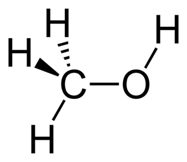 The chemical structure of methanol. (Source: Ben Mills/Wikimedia Commons)